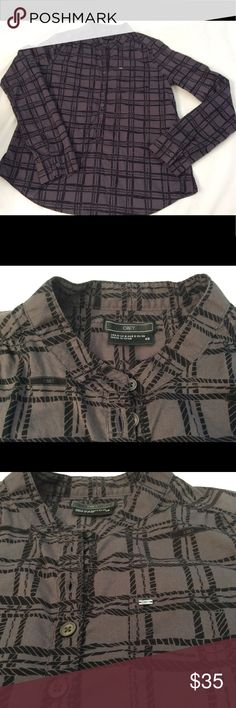 """Obey Plaid Top Obey Brand XS Plaid pattern Top. Mandarin Collar Long sleeve. Buttons down midway. The word Obey is printed throughout pattern.  Bust 19"""" Charcoal Grey and Black Obey Tops Button Down Shirts"""