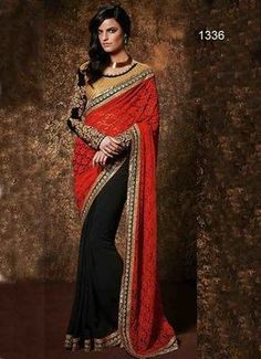 red and black plain georgette saree with blouse