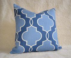 """Porcelain Blue Lattice Linen Pillow Cover 18"""" x 18"""" $39"""
