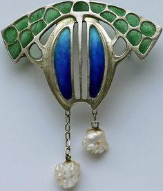 Collier Art Nouveau - Argent, Perles Baroques et Email - Otto Prutscher - Vers 1900