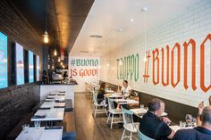 Buono now stands where Stelvio and the old Stem Diner once was, a more casual pasta and piadina bar concept run by the same team. Flatbread Sandwiches, Trio Of Desserts, Best Restaurants In Toronto, Italian Snacks, Wine Source, Pasta Bar, Cooking Tomatoes, Bechamel Sauce