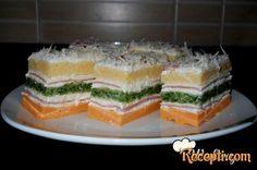 Recept za Slanu tortu. Za spremanje torte neophodno je pripremiti jaja, jogurt, brašno, ulje, prašak za pecivo, spanać, kečap, so, sir, pavlaku, jaja, kačkavalj, majonez, šunku.