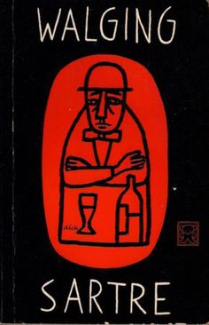 Book cover design by Dick Bruna, 1961. 'Walging'(Nausea) by Jean-Paul Sartre.