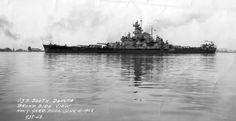 USS South Dakota (BB-57) is leaving Philadelphia on 4 June 1942 for her shakedown training to 26 July.