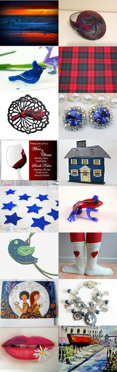 Red and blue spring finds by Alenka on Etsy--Pinned with TreasuryPin.com