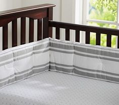 These sheets with gingham bumper set  Sweet Star Crib Fitted Sheet #PotteryBarnKids