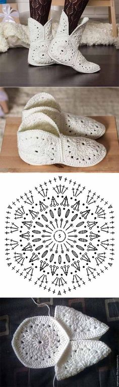 Slippers or boots made of hexagonal motifs | crochet chart to make DIY crochet shoes or slippers