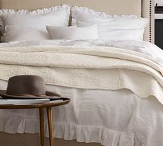 Dress your bed in romantic ruffles. Our Belgian Flax Linen Fringe Ruffle Duvet Cover & Shams are Fair Trade Certified™ and get softer with every wash. Lustrous, smooth and cool to the touch, this natural-fiber fabric is prized for its du… Ruffle Duvet, Linen Duvet, Ruffles, White Duvet Covers, Bed Duvet Covers, Queen Bedding Sets, Luxury Bedding Sets, Modern Bedding, Textured Duvet Cover