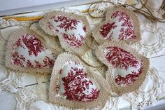 Toile heart garland filled with lavender buds