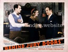 Lobby card for 'Behind Jury Doors' (Fanchon Royer Pictures; My collection. Helen Chandler, December 1st, Elsa, Doors, Pictures, Movie Posters, Movies, Collection, Photos