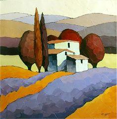 "Sveta Esser Hand Signed and Numbered Limited Edition Giclee on Canvas: ""Azure Hillside"" - Sveta Esser"