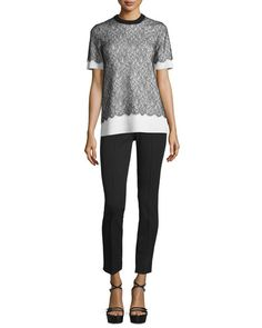 -6KSV Michael Kors Collection  Short-Sleeve Lace Over Cashmere Sweater, Black/White Side-Zip Skinny Cropped Pants, Black