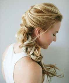 hair ideas bridesmaids hair guest wedding hair styles for wedding hair hair jewellry hair curls hair clips hair medium length updo # twist Braids shoulder length Shaved Side Hairstyles, Twist Braid Hairstyles, Braided Hairstyles Tutorials, Twist Braids, Loose Hairstyles, Glamorous Hairstyles, Bridesmaid Hairstyles, Loose Braids, Bridal Hairstyles