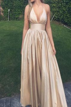 A-Line Halter Floor-Length Sleeveless Champagne Taffeta Prom Dress with Ruched,long prom party dresses, champagn prom party gowns