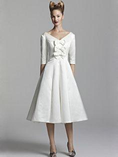 Langarm, knöchellanges kleid, V-Ausschnitt, Vintage
