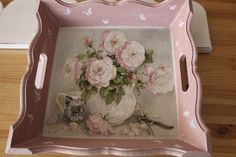 Discover thousands of images about pink tray Decoupage Vintage, Decoupage Paper, Vintage Crafts, Shabby Vintage, Painted Trays, Hand Painted, Craft Projects, Projects To Try, Diy And Crafts