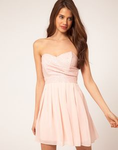 TFNC Dress with Sequin Bandeau & Chiffon Skirt (ASOS) in Nude