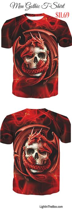 Gothinc punk skull print cotton red men T-shirt. Like it? Shop at $11.69 by clicking on the picture.