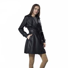 FREE SHIPPING NO MINIMUM 🎁 FREE GIFT WITH PURCHASE  $69.99 WOMEN'S 3/4 LENGTH CAPE LEATHER COAT With BELT