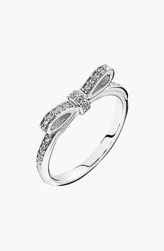 Free shipping and returns on PANDORA 'Sparkling Bow' Ring at Nordstrom.com. A darling crystal-lined bow crowns a slim, stackable sterling-silver ring.