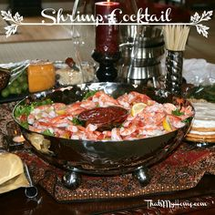 Shrimp Cocktails served with horseradish sauce in a big bowl of ice to keep them cold.
