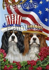 Cavalier King Charles Spaniel USA flag