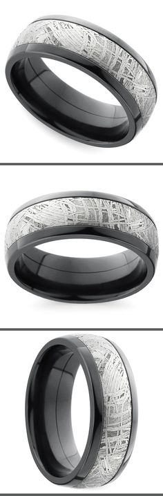 A classic 7 mm domed band is made modern with black zirconium and a genuine Gibeon Meteorite inlay with a high polish finish.