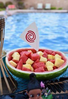 Moana birthday party food watermelon boat fruit salad