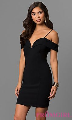 Off-the-Shoulder Short Party Dress with Deep V-Neck
