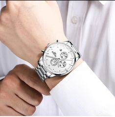 HAIQIN Official Luxury Branded Stainless Steel Men's Watch with Quartz Chronograph Sport Watches, Watches For Men, New Mens Fashion, Men's Fashion, Thing 1, Watch Faces, Casio Watch, Michael Kors Watch, Luxury Branding