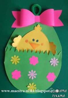 Easter handicraft ideas with patterns - Crafts with children Easter Arts And Crafts, Egg Crafts, Easter Projects, Easter Crafts For Kids, Spring Crafts, Toddler Crafts, Holiday Crafts, Diy And Crafts, Paper Crafts