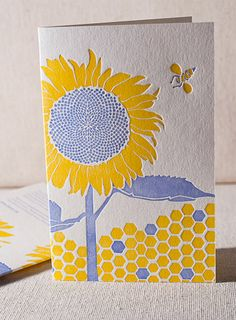 Smock, an artisan letterpress based in Syracuse, NY, has created unique, honey bee-inspired cards...for PAN!  Why bees? Because honey bees are responsible for pollinating one in three bites of food we eat, and they're in trouble. In recent years they've been dying off in droves, party due to increased exposure to pesticides and loss of habitat. Planting bee-friendly plants (like sunflowers) is one thing you can do to support healthy bees.