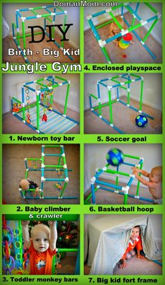 DIY Jungle Gym that grows with your child from birth to big kid. Can be used as a newborn toy bar a crawling space and walking support toy for babies monkey bars for toddler plus a soccer goal basketball hoop and fort frame for big kids. Newborn Toys, Baby Toys, Kids Toys, Baby Newborn, Infant Activities, Activities For Kids, Big Kids, Diy For Kids, Kids And Parenting