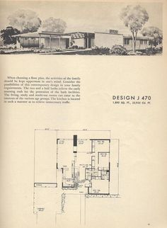 Vintage House Plans, Mid Century House Plans, 1954 Homes Vintage House Plans, Modern House Plans, House Floor Plans, The Plan, How To Plan, Mcm House, Modern Architecture House, Mid Century House, Mid-century Modern