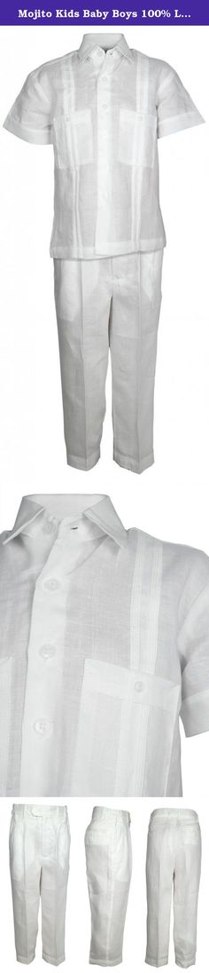 Mojito Kids Baby Boys 100% Linen Two Pocket Guayabera Shirt and Pant Set White 24M. Have your child looking his best with this elegant white 100% linen shirt & pant set. Shirt has two front pockets and pleated trim for an authentic guayabera style. The pants have a satin lining for the most comfortable feel and side elastic bands for the perfect contour.