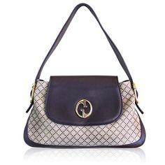 Gucci 1973 Beige/ebony Diamante Jacquard & Pebbled Leather Shoulder Bag