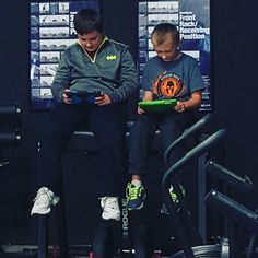 Getting prepared for their workout.