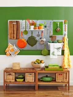 Keep your kitchen gear in view for easy access. Make your tools pop by installing galvanized-steel pegboards that are both fun and functional. Paint the wall around the panel a saturated color to anchor the space and let the utensils serve as decor. /