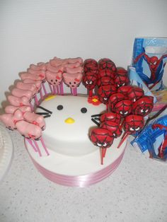 Hello kitty & Spiderman cake pops