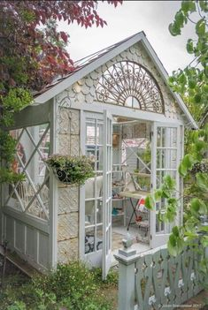 garden shed 40 wundervolle She-Sheds Dekor - garden Backyard Greenhouse, Greenhouse Plans, Backyard Sheds, Backyard Landscaping, Backyard Studio, Garden Sheds, Small Greenhouse, Greenhouse Wedding, Old Window Greenhouse