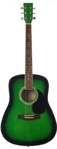 Barcelona Beginner Series 41-Inch Full-Size Dreadnought Acoustic Guitar - Green. Ideal for beginning musicians. Rosewood fretboard and bridge. Stainless diecast tuning pegs.