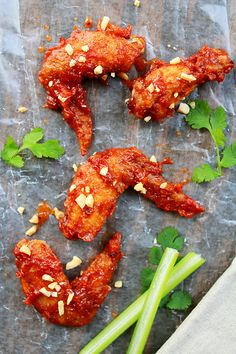 Spicy Thai Chicken Wings - Thai-version of buffalo wings, easy, quick, delicious and the taste is out of this world Chicken Wings Spicy, Thai Chicken, Chicken Wing Recipes, Spicy Wings, Cashew Chicken, Fried Chicken, Easy Delicious Recipes, Yummy Food, Healthy Recipes