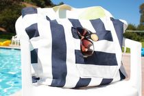 DIY Canvas Beach Bag...easy and cute! I added pockets on the inside sides. Ready for summer!