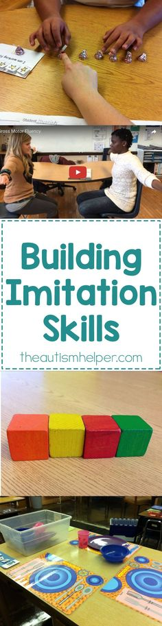 Along with foundational attending skills, we need to focus on building imitation skills. Today I'm breaking down why we need this skill & ways to teach imitation in your classroom! From theautismhelper.com #theautismhelper