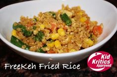 FREEKEH FRIED RICE: Looking to pack your kids something other than a sandwich for school lunch? You've found it! This Freekeh Fried Rice is not only exceptionally nutritional, but it has a flavor that has been Kid Critic Approved! Able to be eaten hot or cold, and easily packed away in a Mason jar for easy portability, this Freekeh Fried Rice is a fail-safe for kids worldwide!