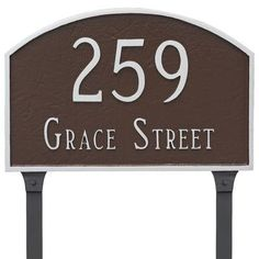 Montague Metal Products Prestige Arch 2 Line Address Plaque Finish: Sea Blue/Gold