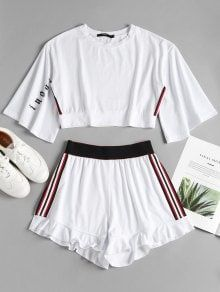 Summer Striped Pleated Elastic High Crew Regular Active Casual and Daily and Sports Side Stripe Sporty Top Shorts Sweat Suit Cute Lazy Outfits, Crop Top Outfits, Sporty Outfits, Girl Outfits, Airport Outfits, Crop Top And Shorts, Suit Fashion, Teen Fashion, Fashion Outfits