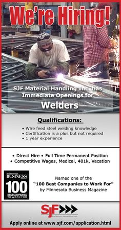 SJF Material Handling Inc. has immediate openings for Welders. Direct hire, full…