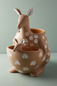 Shop the Joey Planter and more Anthropologie at Anthropologie today. Read custom… Shop the Joey Planter and more Anthropologie at Clay Pinch Pots, Ceramic Pinch Pots, Ceramic Planters, Ceramic Clay, Clay Pots, Ceramic Pottery, Pottery Animals, Ceramic Animals, Clay Animals