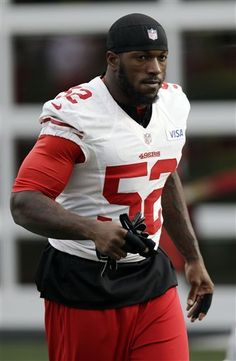 San Francisco 49ers inside linebacker Patrick Willis (52) warms up during NFL football practice in Santa Clara, Calif., Wednesday, Jan. 9, 2013. The 49ers host the Green Bay Packers in an NFC divisional playoff game on Saturday. (AP Photo/Marcio Jose Sanchez)